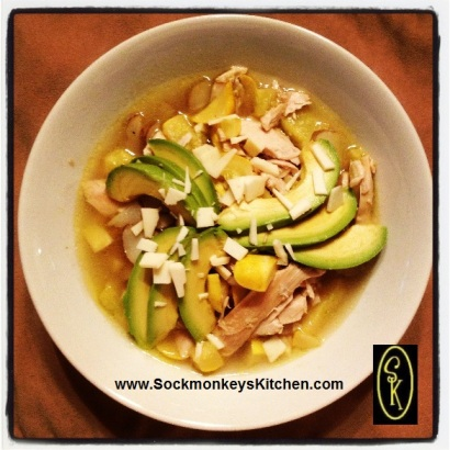 Turkey, yellow pattypan squash and sunchokes, topped with avocado and a bit of asiago. Main spice: Dill