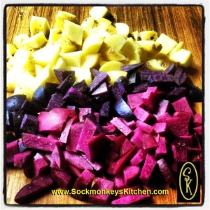white, violet and fuschia potatoes