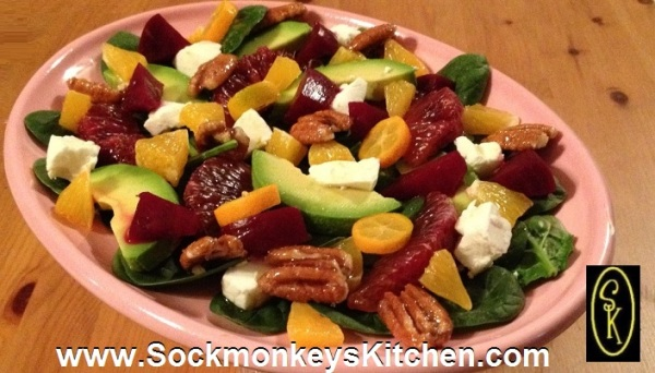 Spiced pickled beets and blood oranges give this Chilled Valentine's Salad a deep ruby sparkle.