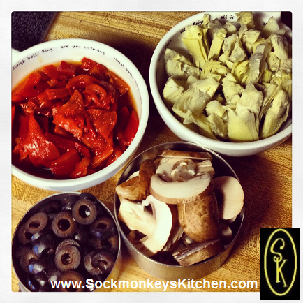 Roasted Red Peppers, Small Artichoke Hearts, Baby Portabella Mushrooms, and Black Olives: these items can all be sliced up before cooking time.