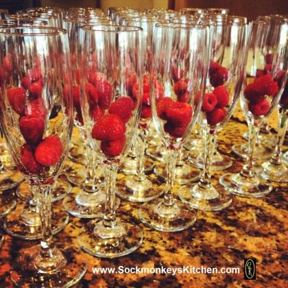 Fresh raspberries waiting for the champagne