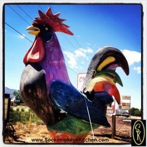 "Nothing says ""Road Trip"" like a giant rooster. Can you see Nigel in the seatbelt?"
