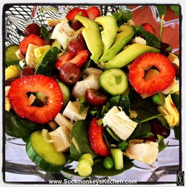 Fruits, veggies, spinach and chicken make a beautiful pairing in my Summer Salad.
