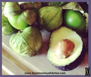 1. Take the husk off of the tomatillos, and peel & seed the avocado.