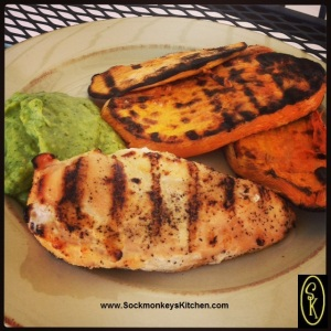 7. Dinner is Served!  Grilled Chicken Breast with Tomatillo-Avocado Sauce, and Grilled Sweet Potato Slices