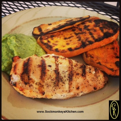 Dinner - Grilled Chicken Breast with Tomatillo-Avocado Sauce, and Grilled Sweet Potato Slices