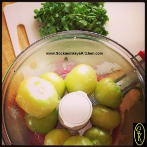 3. Now that the tomatillos are cooked, they are ready to have the other ingredients join them in the food processor.