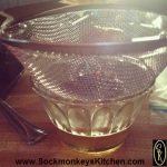 Use a fine mesh sieve to remove all of the browned bits from your dressing.