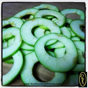 Cut thick apple slices and cut out the center core. You can use a small round cookie/donut cutter, or be like me: I used an aluminum bottle cap
