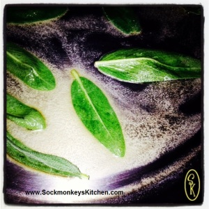 Saute fresh sage leaves in lemon olive oil till soft & pliable