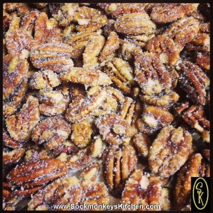 Shake the baked pecans, salt, and sugar together till coated.