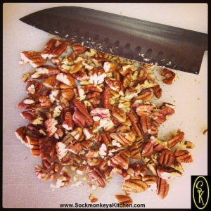 Here's the size of a rough chop I use on the pecans. It's super easy when you use a knife like this =0)