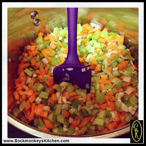 Cook the carrots, celery, and onions while the potatoes are boiling. Using a rubber spatula makes it easy to move them all around and scrape down the sides.