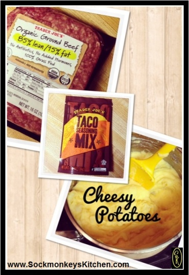 3 things you need to know:  1. Organic meat is always best! 2. Trader Joe's Taco Mix is gluten free! 3. Mashed potatoes with cheese... what could be better?