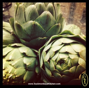 I like to choose artichokes that are still pretty sage green, globe shaped, and barely open. I also look for the longest stem possible.