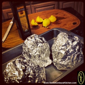 Step 8: Tightly compress foil around artichokes, and place in baking pan. Bake 90 minutes.