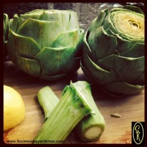Step 5: Cut the stem from artichoke.