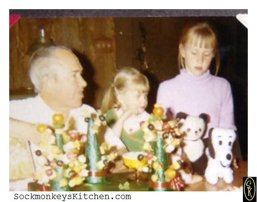 I think I got my love of cutting up fruit & veggies from my mom who made these little trees when I was a kid. Here I am (the little one) with my Grandpa Nathan and cousin Cheryl around 1970 or so.