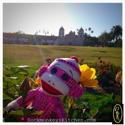 Opal visits the rose garden at the Santa Barbara Mission