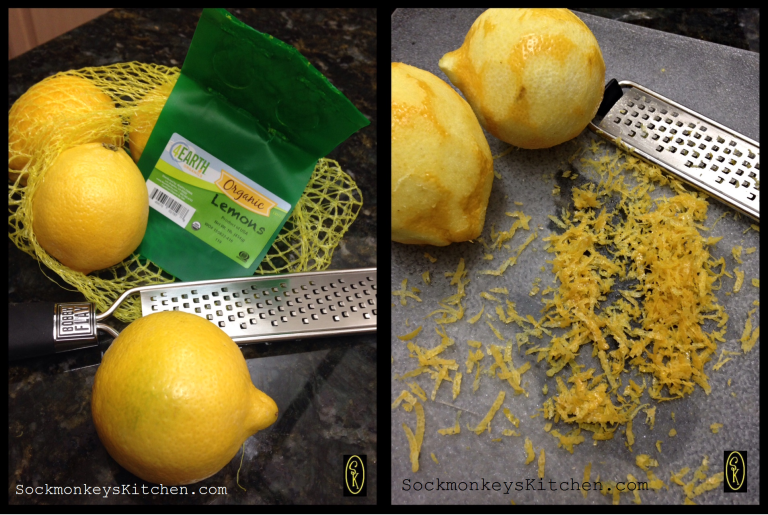 Grating lemon peel with a rasp only takes a couple of minutes!