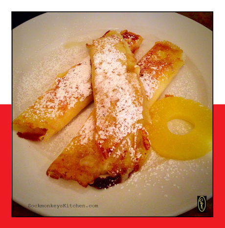 Cody ordered the Nalesniki Z Serem Lub Jablkiem (Crepes with cheese and apple).