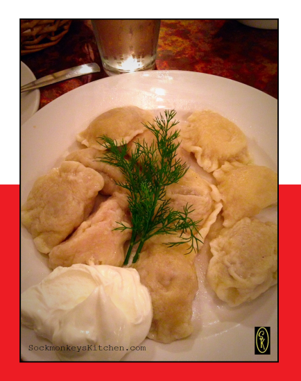 I had a perfect plate of Pierogi. Half were Z mięsem (or with meat - pork, to be exact), and half were Ruskie (potato and cheese). They were topped with butter, sour cream, and a sprig of fresh dill. Perfection!