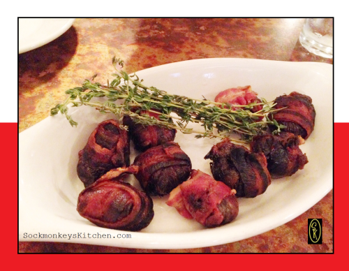 For appetizers, we had the Sliwka Zawijana w Boczku (Plums Rolled In Bacon)