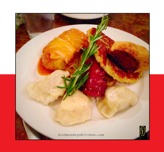 Ken ordered the Polish Plate which included both potato/cheese and meat Pierogis, Gołąbki (stuffed cabbage), Sausage, Placki (Potato Pancake), Pasztecik (meat-filled hand pie), and Sauerkraut